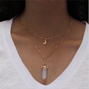 Jewelry - 3/$20...White Quartz Layered Moon Gold Necklace